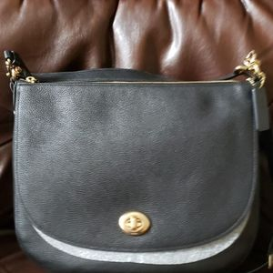 Black pebble leather large Coach handbag